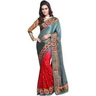 Aagaman Purple Georgette Embroidered Saree With Blouse