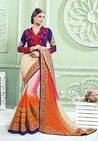 Vardhini Peach & Khaki Brocade Embroidered Saree With Blouse