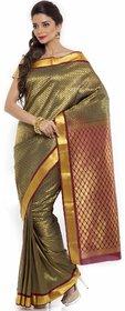 Sudarshan Silks Brown Linen Self Design Saree With Blouse