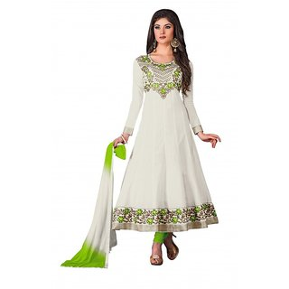 khoobee Presents Embroidered Cotton Anarkali Dress Material(Off-White,Parrot Gre