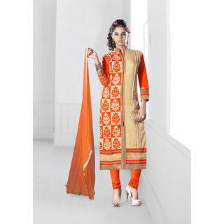 Khushali Presents Embroidered Chanderi Dress Material (Orange,Chikoo)