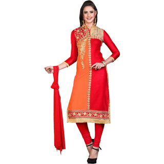 khoobee Presents Embroidered Glaze Cotton Dress Material(Red,Orange)