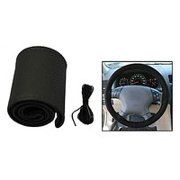 Takecare Car Steering Cover Grip/Stitching Black Colour For Chevrolet Beat