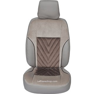 Leather Car Seat Covers For Ford Figo (Brown With Universal Design)