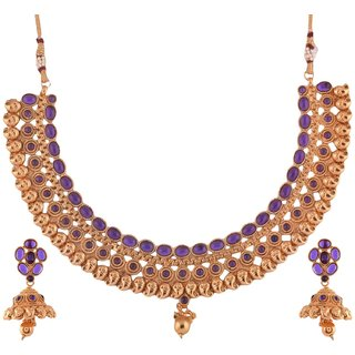 1 gram gold plated Temple design South Indian Necklace Jewelry 5104