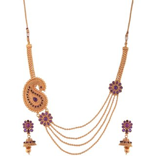 1 gram gold plated temple design Women necklace Set Jewelry 5112