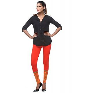 Lysa Collection Premium Quality Hot Red Border Leggings