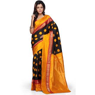 Utsav Fashion Black and Orange Pure Pochampally Handloom Silk Saree with Blouse SBHA47