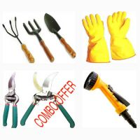 4in1 GARDEN SET HAND GLOVES , SPRAY GUN NOZZLE , Gardening Scissor , Garden Tool - 1950652