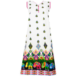 Srinika white base with pink hem printed kurti