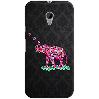 The Fappy Store Flower-Elephant-Black Hard Plastic Back Casecover Moto G-3