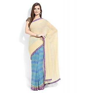 Lookslady Blue & Brown Georgette Printed Saree With Blouse