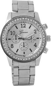 Addic Glitz Silver Chain Fashionable Geneva Watch for Women (Fashion Wristwatch)