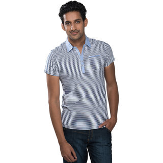 Mavango Sassy Casual Striped White T-shirt for Men