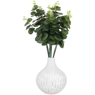 1 Bunch Green Artificial Plastic Leaves Plant 5 Branches Eucalyptus Grass for Home Wedding Decor