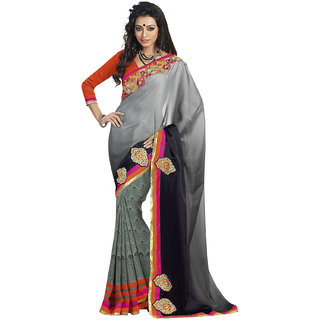 Aesha Black Georgette Printed Saree With Blouse