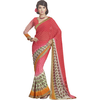 Aesha Multicolor Georgette Printed Saree With Blouse