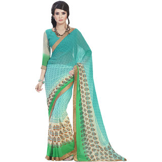 Aesha Green Georgette Printed Saree With Blouse