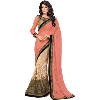 Aesha Beige Georgette Embroidered Saree With Blouse