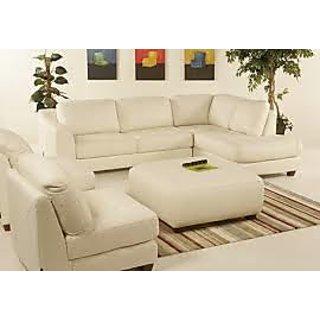 Lshaped White Sofa Set