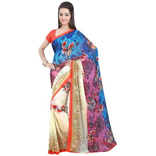 Yehii Printed Light Blue  Beige Chiffon Saree