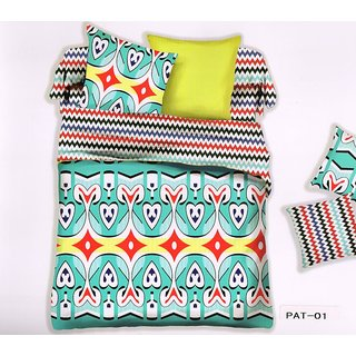 Welhouse India Heart Print Cotton King Bedsheet with two pillow covers