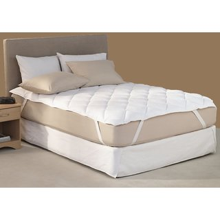Linenwalas Waterproof Single Bed Fitted Mattress Protector, White