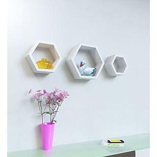 Onlineshoppee Set Of 3 Hexagon shape Designer Storage Shelves - White