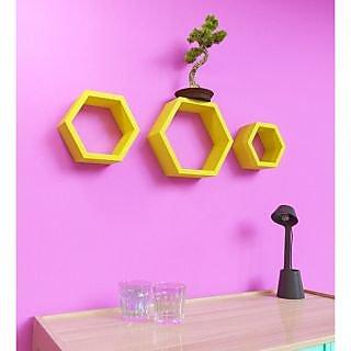 Onlineshoppee Set Of 3 Hexagon shape Designer Storage Shelves - Yellow