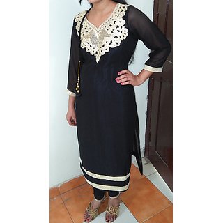 Ek Onkar Collection  Georgette Black Designer Kurti With Inner
