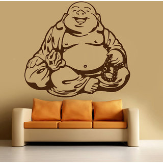 Wonderful Decor Kafe Laughing Buddha Wall Sticker 34x31 Inch)