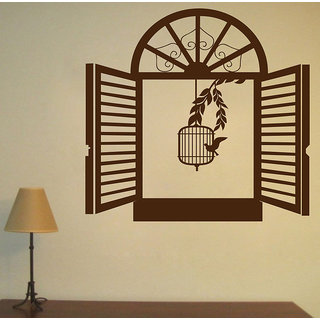 Decor Kafe Bird Seen From Window Wall Sticker 20x20 Inch)