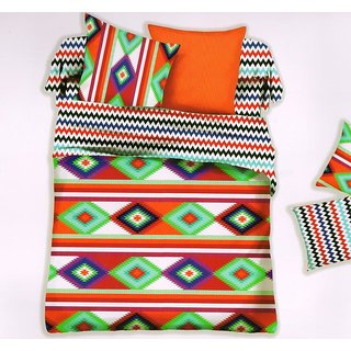 Welhouse India Digital  Print Cotton King Bedsheet with two pillow covers