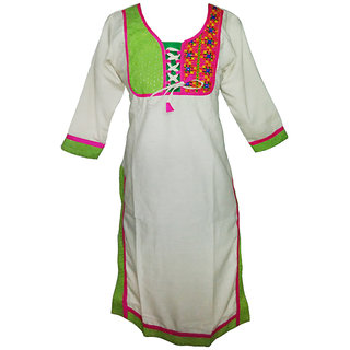 Multi Coloured Embroidered kurti