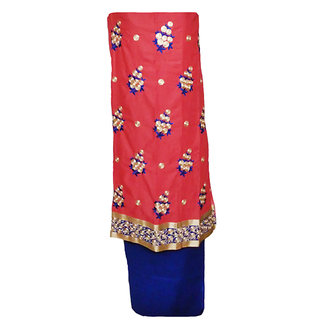 Pinkish orange embroidered dress material