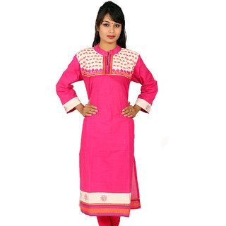 Full Sleeve Pink Kurta on Selfprint Dots