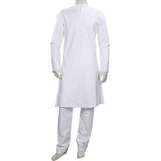 Long Sleeved White Cotton Kurta Pyjama for Weddings