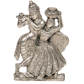 Home Beautiful Handcraft Divine Lord RadhaKrishna Antique White Metal Idol