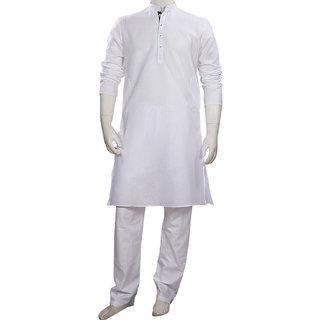 Regular White Ethnic Cotton Kurta Pajama for Men