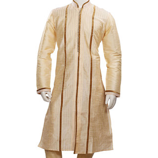 Traditional Designer Golden Silk Wedding Kurta Pajama Set