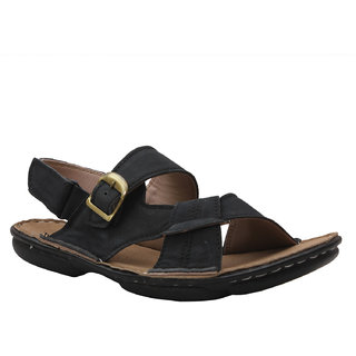 Leather Soft Men's Black Velcro Sandals