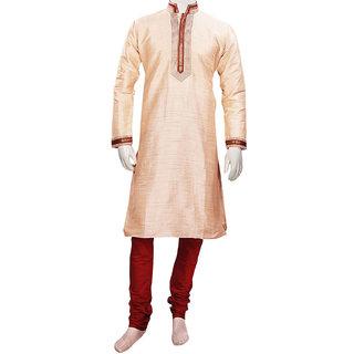 Traditional Designer Beige Silk Kurta Pajama Set for Parties