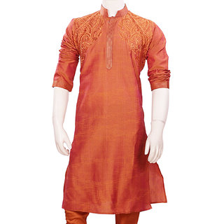 Fashionable Sienna Color Cotton Kurta Pajama Set