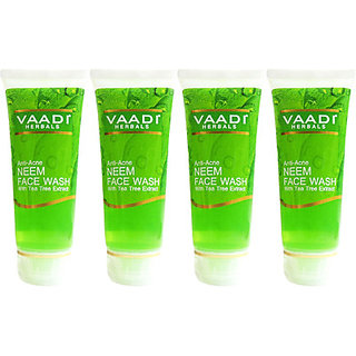 Vaadi Herbals Anti-acne Neem Face Wash with Tea Tree Extract - Pack of 4 Face Wa