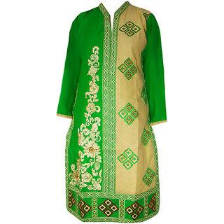 Srinika lime green half pattern kurti