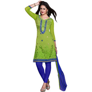 Shree Bhavyu Creation Parrot Green and Blue colored un-stitched cotton dress mat