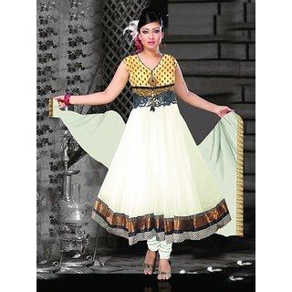 White Designer Readymade Anarkali Salwar Kameez Suits with Accessories