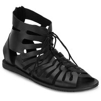 ESTD .1977 Men Casual Classy Black Leather Sandal