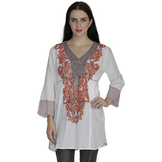SVT ADA COLLECTIONS COTTON WHITE-ORANGE EMBROIDERED TUNIC