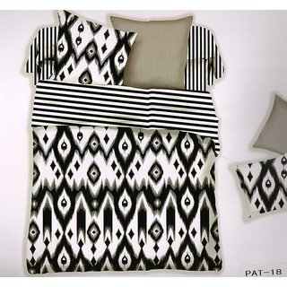 Welhouse India Stylish Print Cotton King Bedsheet with two pillow covers